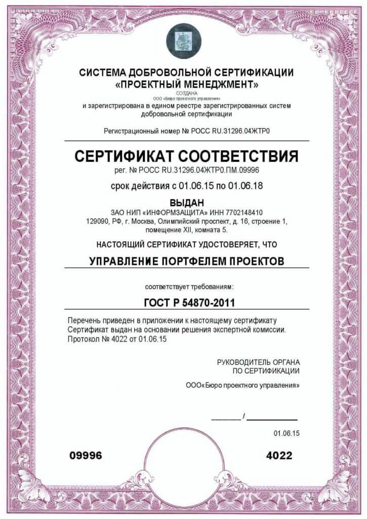 ГОСТ Р 54870 2011 проектный менеджмент управление портфелем проектов сертификат соответствия